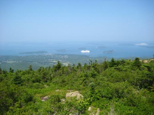Bar Harbor and harbour from Arcadia National Park, ME