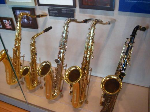 Bill's saxes, Clinton Presidential Center, Little Rock, Arkansas